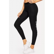 Lovely Sportswear Letter Print Black Leggings
