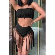 Lovely Tassel Design Black Two-piece Swimsuit