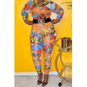 Lovely Stylish Print Multicolor Plus Size One-piec