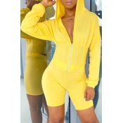 Lovely Trendy Zipper Design Yellow Two-piece Short