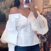 Lovely Trendy Dew Shoulder Buttons Design White Bl