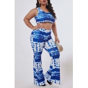 Lovely Trendy Print Blue Plus Size Two-piece Pants