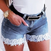 Lovely Casual Lace Patchwork Baby Blue Shorts