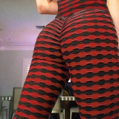 Lovely Sportswear Striped Black Red Pants