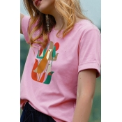Lovely Leisure O Neck Print Pink Plus Size T-shirt