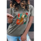 Lovely Leisure O Neck Print Grey Plus Size T-shirt