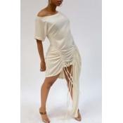 Lovely Trendy Fold Design Asymmetrical White Mini