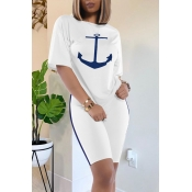 Lovely Casual O Neck Print White Two-piece Shorts Set