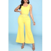 Lovely Trendy Basic Yellow One-piece Jumpsuit