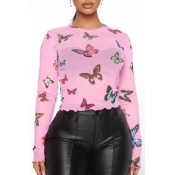 Lovely Trendy Butterfly Print Pink Base Layer