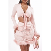 Lovely Trendy Fold Design Pink Two-piece Skirt Set