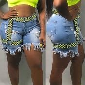 Lovely Trendy Broken Holes Blue Shorts