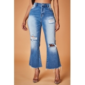 Lovely Vintage Hollow-out Dark Blue Jeans