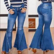 Lovely Denim Casual Solid Slit Boot Cut Mid Button