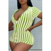 Lovely Casual Striped Green Plus Size One-piece Ro