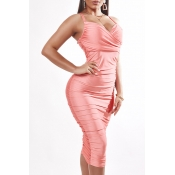 Lovely Sexy V Neck Fold Design Pink Knee Length Dr
