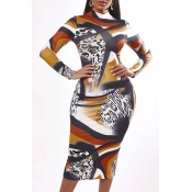 Lovely Casual Print Multicolor Knee Length Dress