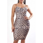 Lovely Sexy Leopard Print Knee Length Dress