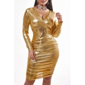 Lovely Sexy Fold Design Gold Knee Length Dress