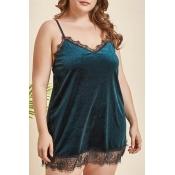 Lovely Sexy Lace Hem Green Plus Size Sleepwear