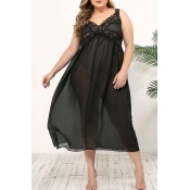 Lovely Sexy Lace Patchwork Black Plus Size Sleepwe