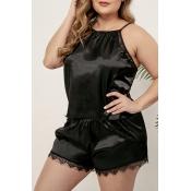 Lovely Sexy Lace Hem Black Plus Size Sleepwear