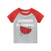 Lovely Leisure Print Patchwork Red Boy T-shirt