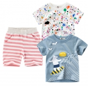 Lovely Casual Striped Print Pink Boy Two-piece Sho