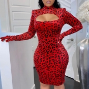 Lovely Casual Hollow-out Print Red Knee Length Dre