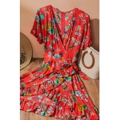 Lovely Bohemian Print Red Knee Length Dress