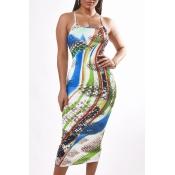 Lovely Trendy Print Multicolor Mid Calf Dress
