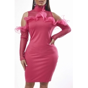 Lovely Trendy Hollow-out Pink Knee Length Dress