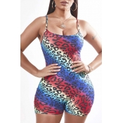 Lovely Sexy Print Multicolor One-piece Romper