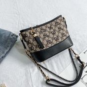 Lovely Trendy Chain Strap Black Messenger Bag