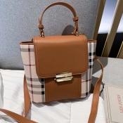 Lovely Chic Grid Brown Crossbody Bag
