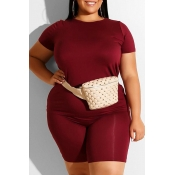 Lovely Leisure Basic Wine Red Plus Size Two-piece Shorts Set