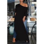 Lovely Casual Side High Slit Black Plus Size Blous
