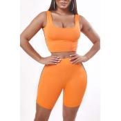Lovely Sportswear Patchwork Orange Two-piece Short