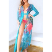 Lovely Print Blue Two-piece Swimsuit(With Cover-Up