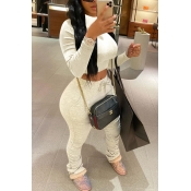 Lovely Casual Fold Design Beige Two-piece Pants Se
