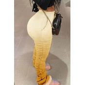 Lovely Casual Fold Design Yellow Pants