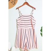 Lovely Trendy Striped Pink One-piece Romper