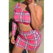 Lovely Trendy Grid Pink Plus Size Two-piece Skirt