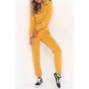 Lovely Sportswear Patchwork Yellow Loungewear