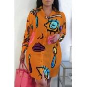 Lovely Casual Print CrociMini Plus Size Dress