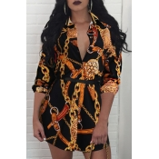 Lovely Trendy Print Black Mini Plus Size Dress