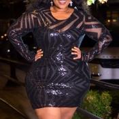 Lovely Casual Patchwork Black Mini Plus Size Dress