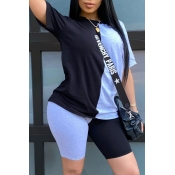 Lovely Casual O Neck Patchwork Blue Two-piece Shorts Set
