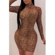 Lovely Trendy Leopard Print Brown Mini Dress