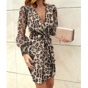 Lovely Trendy Deep V Neck Print Brown Mini Dress
